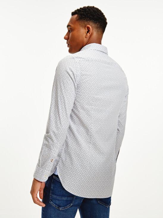 Abstract Leaf Print Slim Fit Shirt