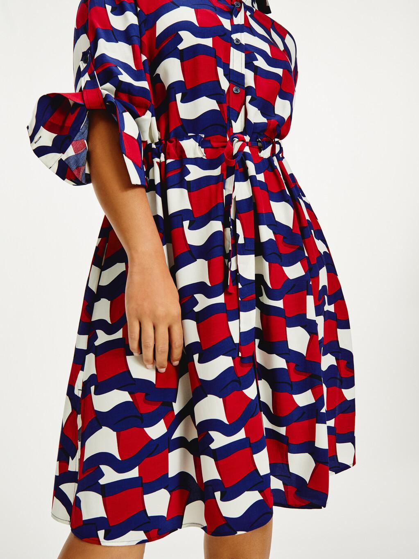 Viscose Flag Print Shirt Dress