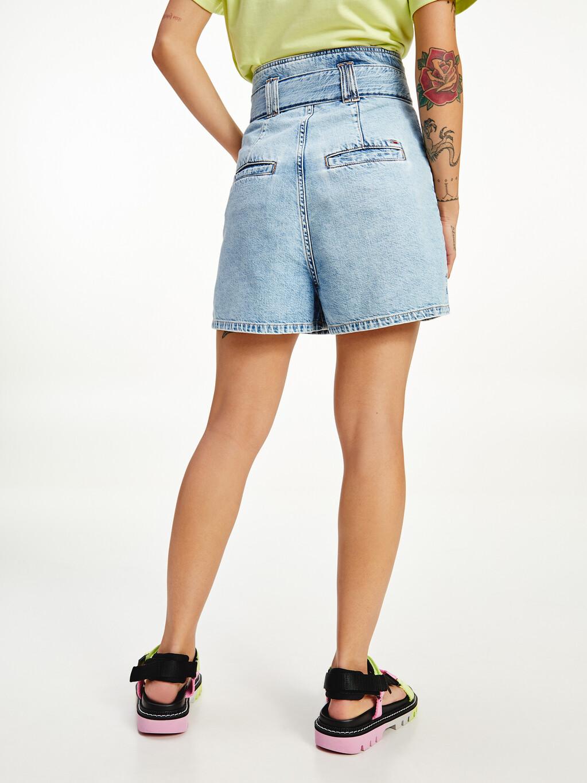 Self-Tie Belt Denim Mom Shorts