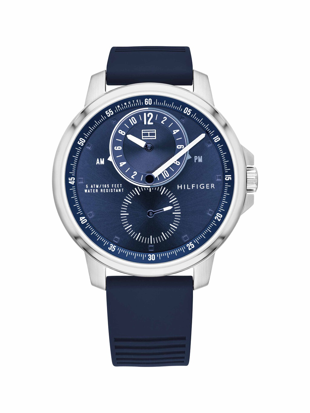 Stainless Steel Watch With Blue Brown Silicone Strap