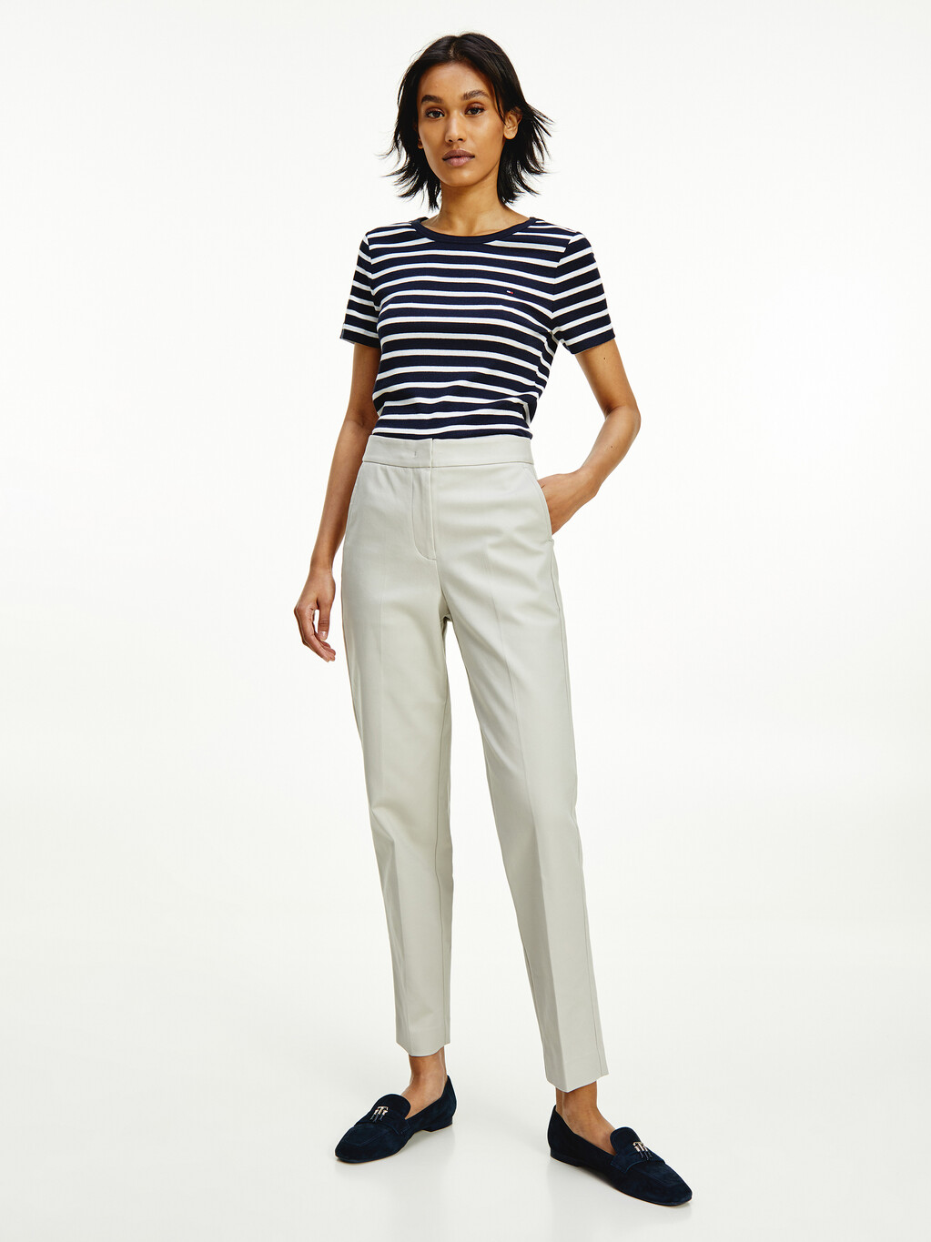 Stretch Cotton Slim Fit Trousers