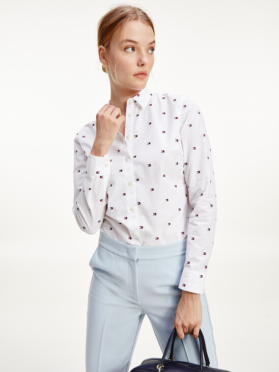 All-Over Flag Embroidery Fitted Shirt