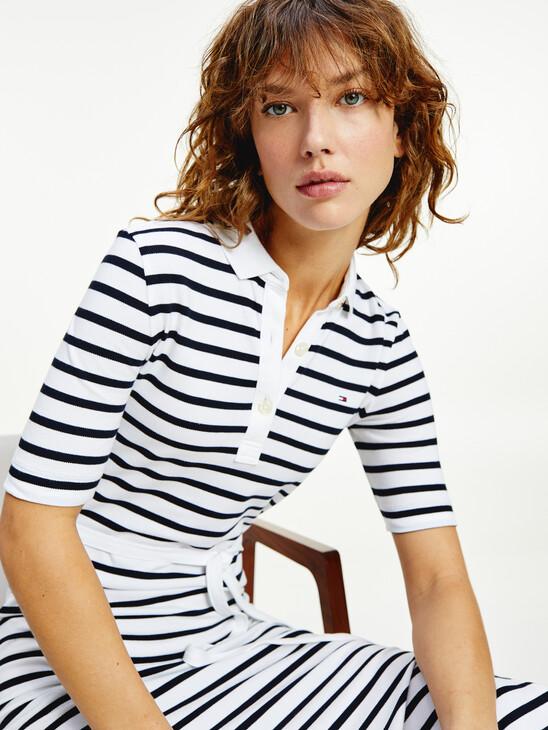 Breton Stripe Midi Polo Dress