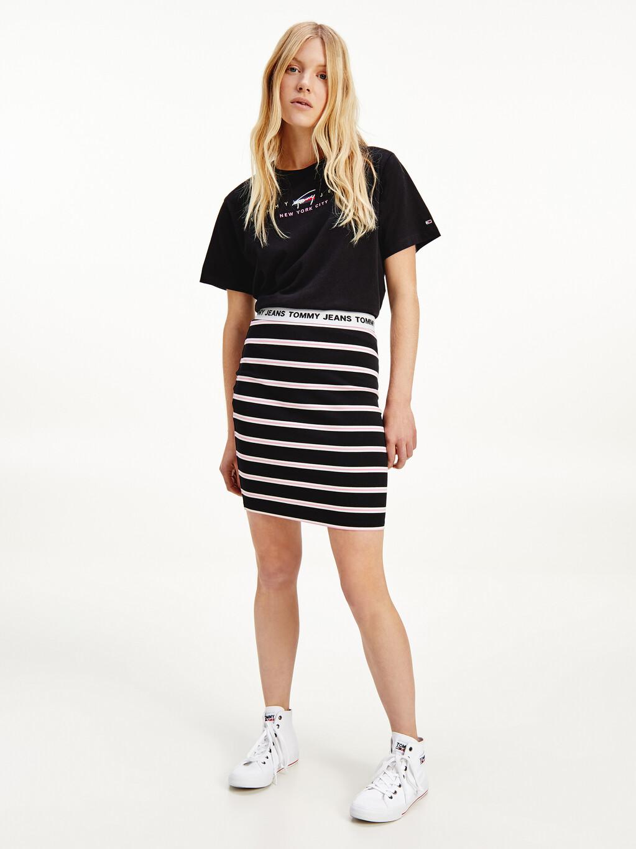 Stripe Repeat Logo Bodycon Skirt