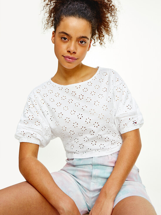 Broderie Anglaise Cropped T-Shirt