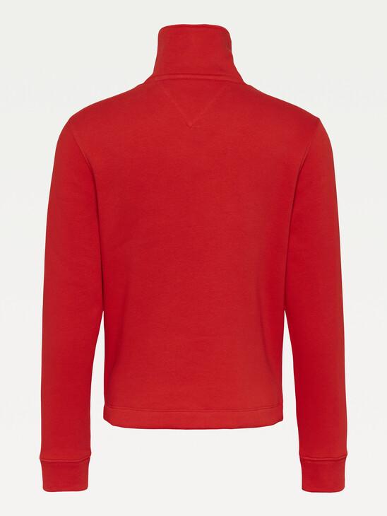 Tommy Badge Quarter Zip Drawstring Sweatshirt