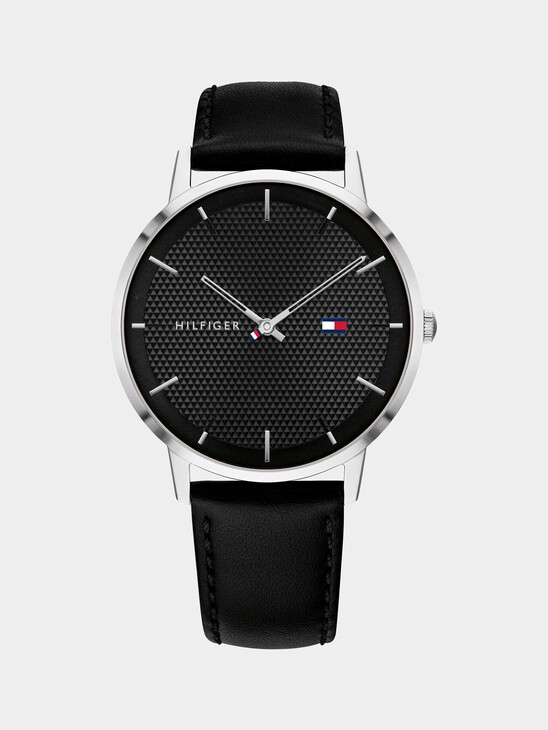 Stainless Steel Watch With Black Leather Strap
