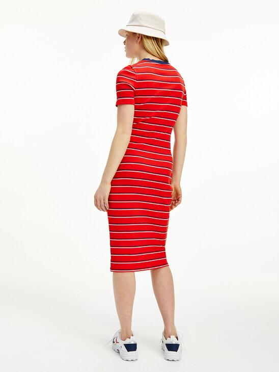Stripe Bodycon Midi Dress