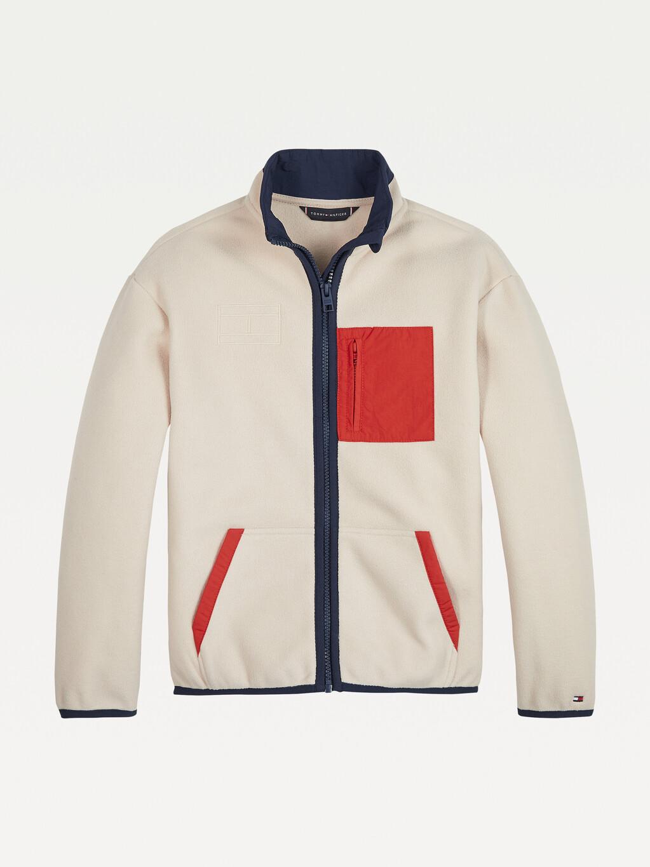 Colour-Blocked Zip-Thru Fleece Jacket