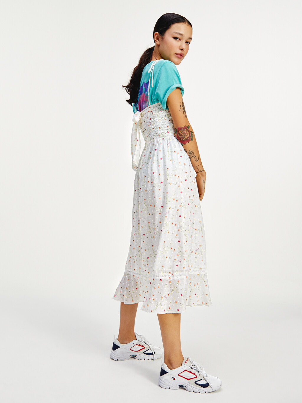 Ruched Ditsy Floral Viscose Dress