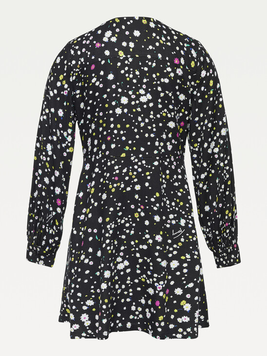 Viscose Floral Print Long Sleeve Dress
