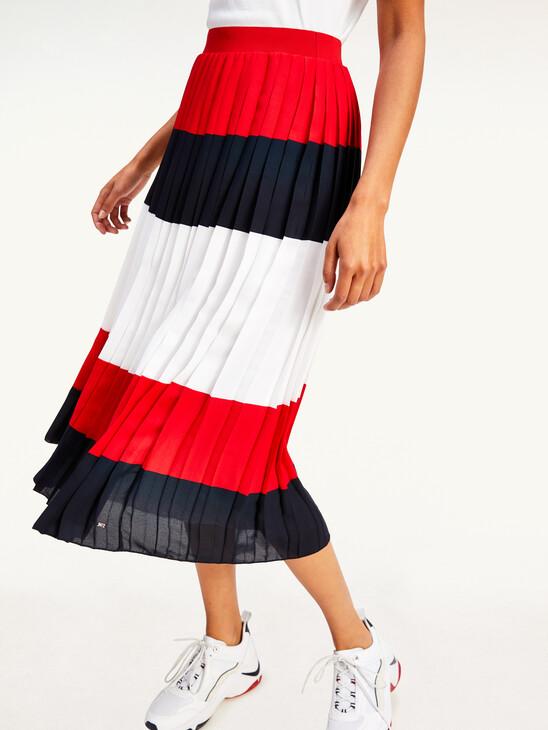 Colour-Blocked Pleated Midi Skirt