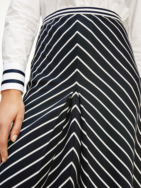 Chevron Stripe Midi Length Skirt