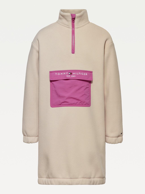 Colour-Blocked Half Zip Dress