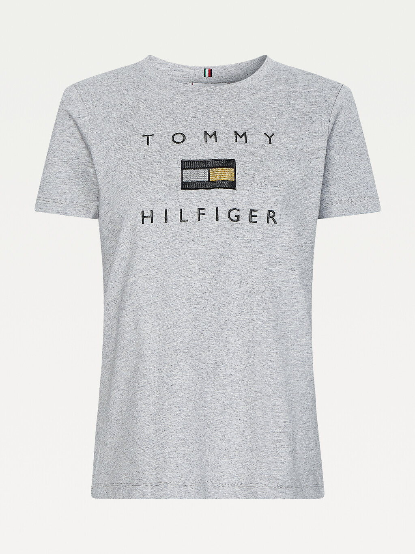 Metallic Logo Embroidery T-Shirt