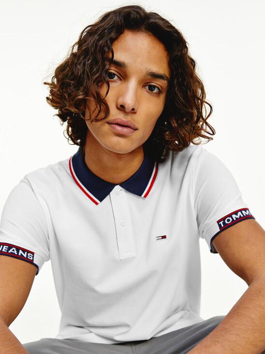 Stripe Collar Organic Cotton Pique Polo