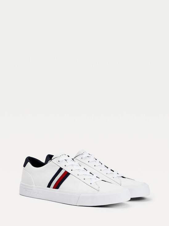 Signature Tape Leather Trainers