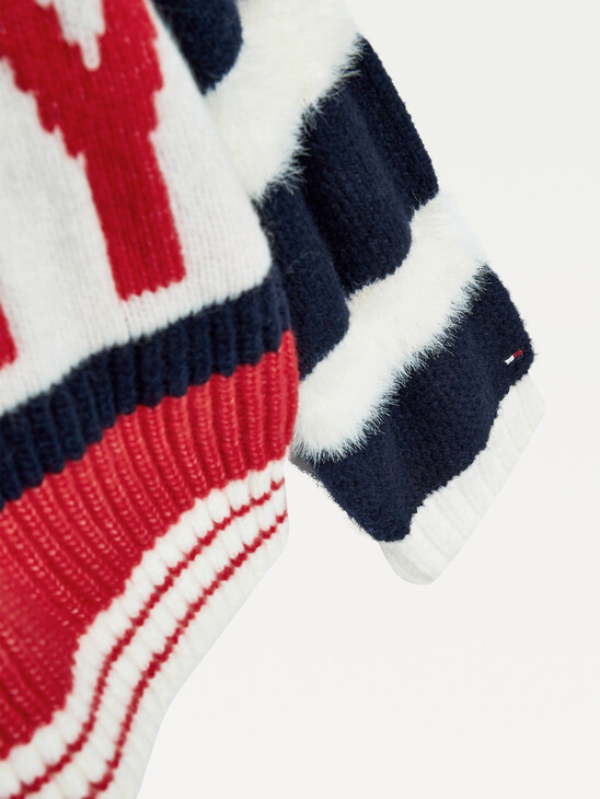 Bold Logo Textured Knit Cardigan