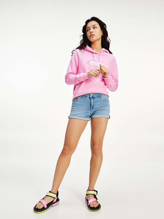 Faded Stretch Cotton Denim Shorts