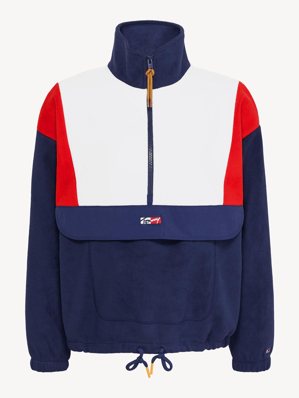 Colour-Blocked Half-Zip Polar Fleece Jumper