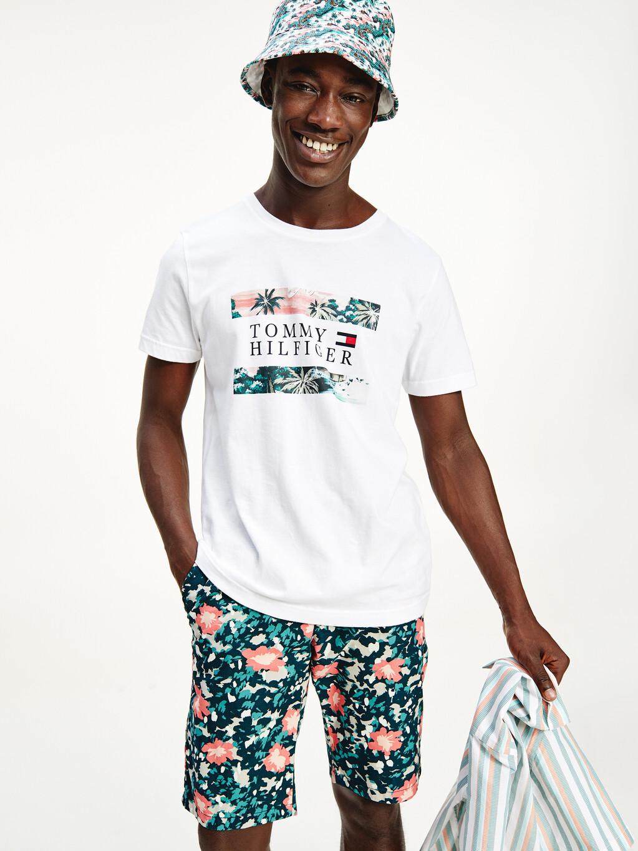 Hawaiian Print Organic Cotton Flag T-Shirt