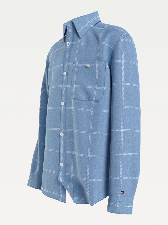 Check Print Organic Cotton Denim Shirt