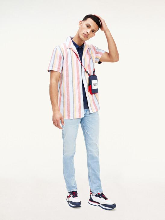 Stripe Short-Sleeve Camp Collar Shirt