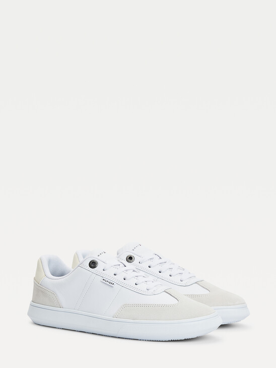Leather Lace-Up Cupsole Trainers