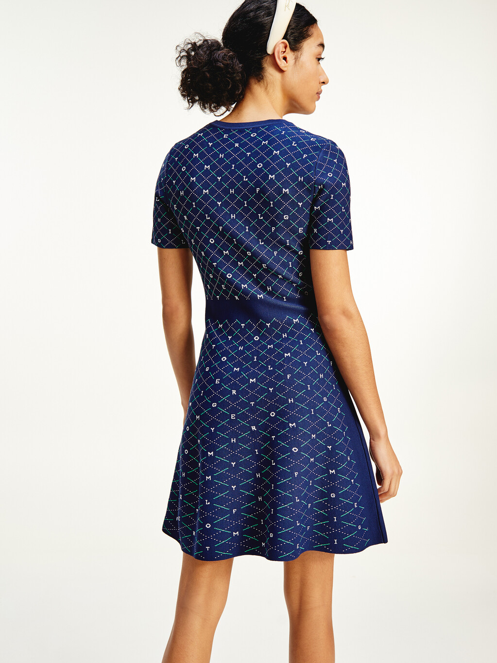 Argyle Fit and Flare Short Dress
