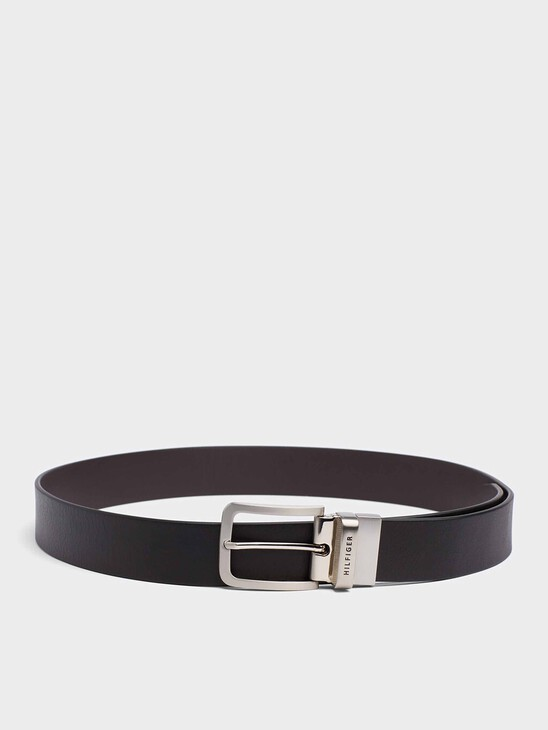 Reversible Leather Silver-Tone Loop Belt