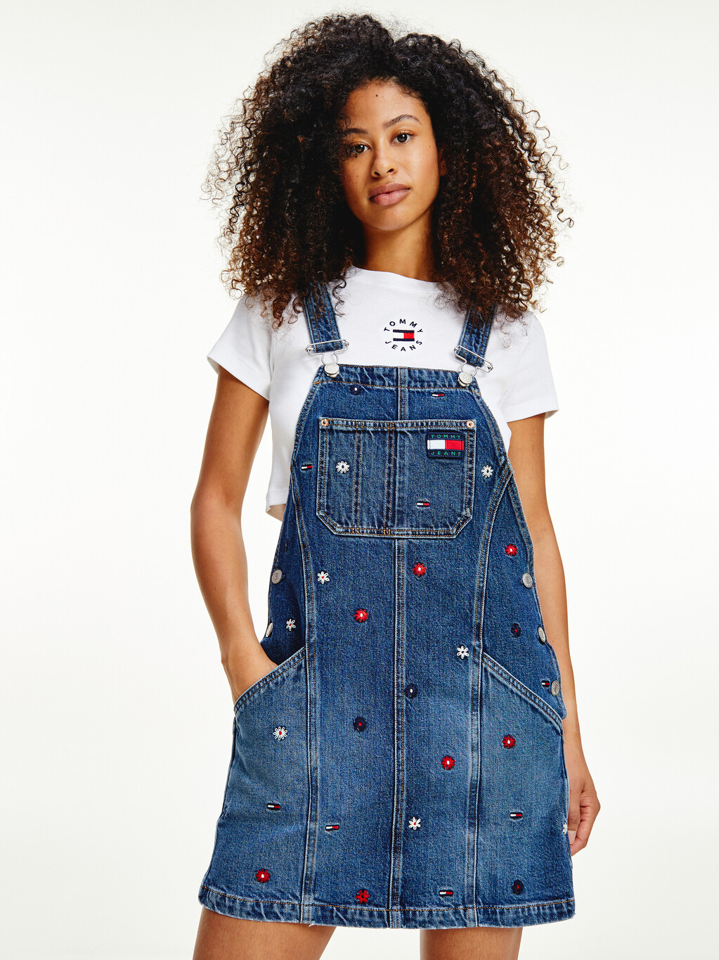 EMBROIDERY DUNGAREE DRESS