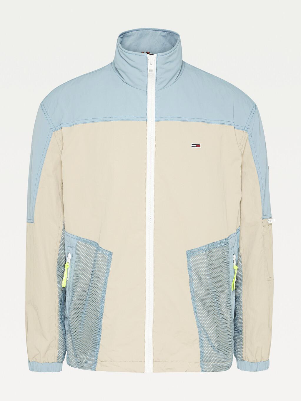 Colour-Blocked Mesh Jacket