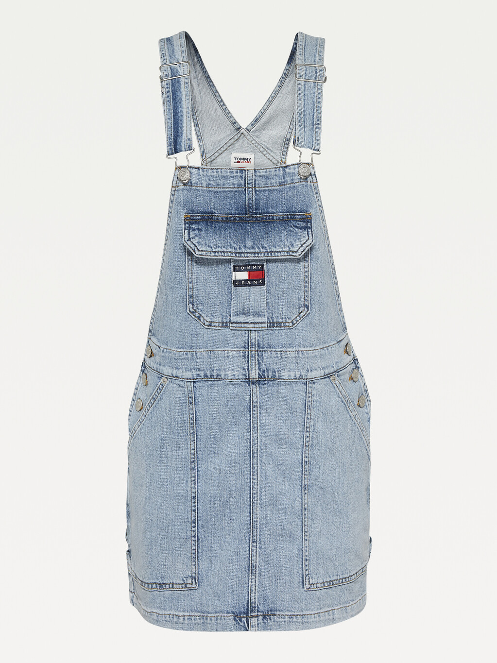 Tommy Badge Neon Embroidery Dungaree Dress