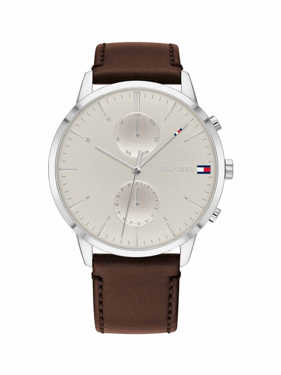 Stainless Steel Watch With Dark Brown Leather Strap