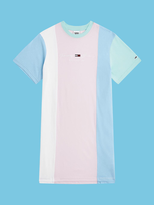 Pastel Colour-Blocked Organic Cotton T-Shirt Dress
