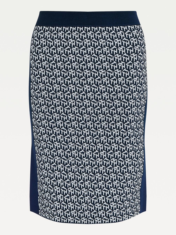 TH Monogram Viscose Tube Skirt
