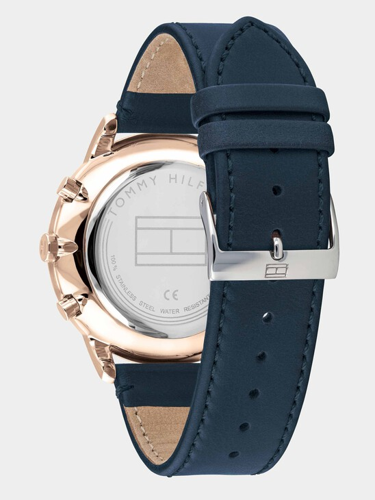 Stainless Steel Watch With Blue Brown Leather Strap