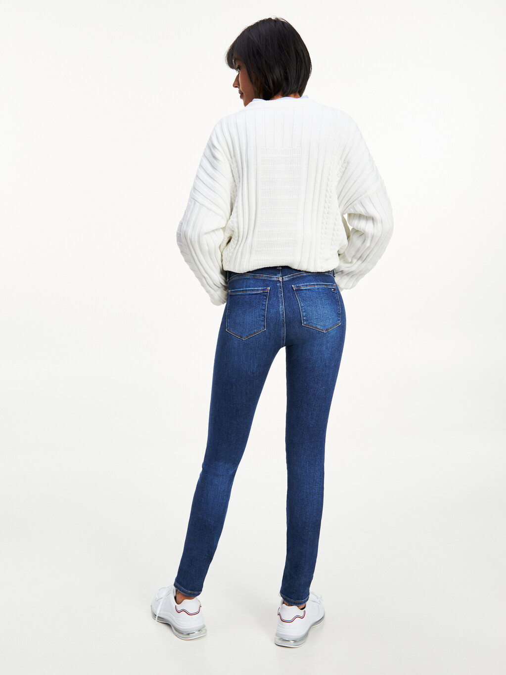 Monogram Embroidery Mixed Knit Jumper