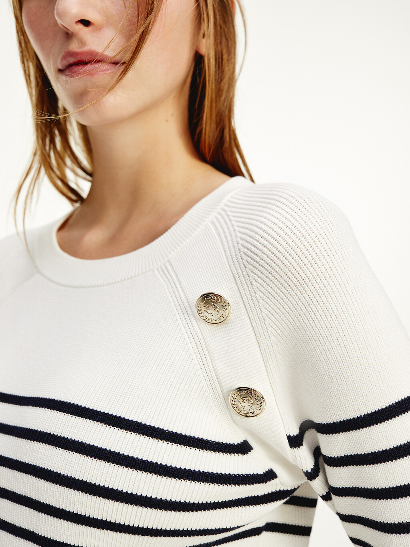 Button Stripe Ribbed Jumper