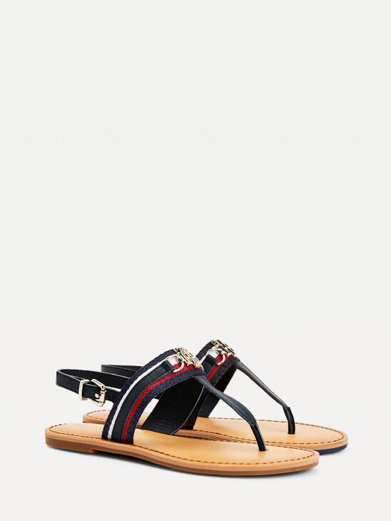 Shimmery Monogram Flat Sandals