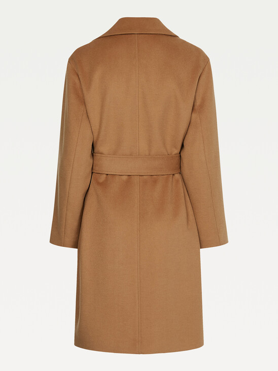 Belted Double Breasted Wool Blend Coat