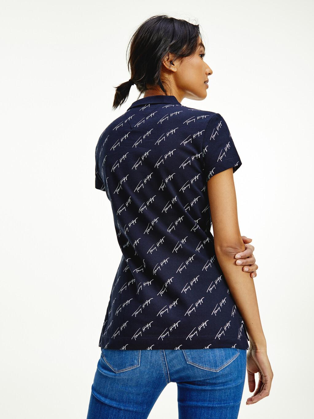 Abstract Print Slim Fit Polo