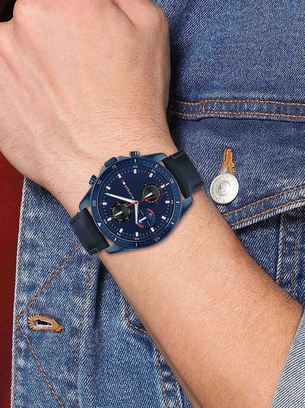 Stainless Steel Watch With Blue Leather Strap